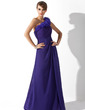 A-Line/Princess One-Shoulder Floor-Length Chiffon Mother of the Bride Dress With Ruffle (008006540)