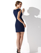 Kılıf Yuvarlak Yaka Kısa/Mini Chiffon Gelin Annesi Elbisesi Ile Büzgü (008013761)