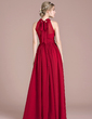 A-Line/Princess Scoop Neck Floor-Length Chiffon Prom Dress With Ruffle Bow(s) Split Front (018112651)