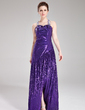 A-Line/Princess Sweetheart Sweep Train Sequined Prom Dress With Beading Split Front (018018820)