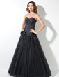 A-Line/Princess Sweetheart Floor-Length Taffeta Tulle Quinceanera Dress With Ruffle Beading Flower(s) (021017445)