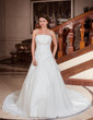Ball-Gown Strapless Cathedral Train Satin Organza Wedding Dress With Ruffle Beading Bow(s) (002001262)