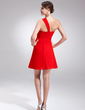 Empire One-Shoulder Short/Mini Chiffon Homecoming Dress With Ruffle Beading (022009018)