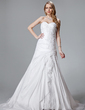 A-Line/Princess Sweetheart Court Train Taffeta Lace Wedding Dress With Beading Cascading Ruffles (002000455)