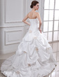 Ball-Gown Sweetheart Chapel Train Taffeta Wedding Dress With Ruffle Beading Flower(s) (002001719)