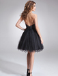 A-Line/Princess Sweetheart Knee-Length Tulle Homecoming Dress With Ruffle Beading (022020954)