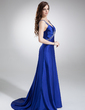 A-Line/Princess V-neck Sweep Train Charmeuse Prom Dress With Ruffle Beading (018002831)