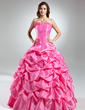 Ball-Gown Strapless Floor-Length Taffeta Quinceanera Dress With Ruffle Flower(s) (021015576)
