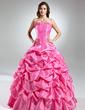 Balo Elbisesi Askısız Uzun Etekli Tafta Quinceanera (15 Yaş) Elbisesi Ile Büzgü Çiçek(ler) (021015576)