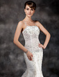 Trumpet/Mermaid Court Train Organza Wedding Dress With Lace Beading Sequins (002017114)