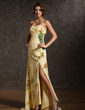A-Line/Princess Sweetheart Sweep Train Chiffon Prom Dress With Ruffle Beading Appliques Lace Split Front (018020941)