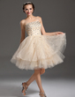 A-Line/Princess Strapless Knee-Length Organza Homecoming Dress With Beading (022021028)