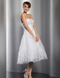 A-Line/Princess Sweetheart Knee-Length Organza Wedding Dress With Ruffle Beading Appliques Lace Sequins (002014769)