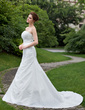 Trumpet/Mermaid Strapless Cathedral Train Taffeta Wedding Dress With Ruffle Beading Appliques Lace (002001208)