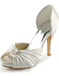 Women's Satin Cone Heel Peep Toe Platform Sandals With Bowknot (047005429)