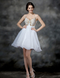 A-Line/Princess V-neck Short/Mini Organza Homecoming Dress With Ruffle Beading (022010436)
