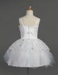 Empire Knee-length Flower Girl Dress - Tulle/Charmeuse Sleeveless Scalloped Neck With Sash/Flower(s)/Sequins (010014602)