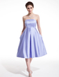 Empire Strapless Knee-Length Satin Homecoming Dress With Ruffle (022010952)