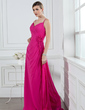A-Line/Princess V-neck Floor-Length Chiffon Bridesmaid Dress With Ruffle Flower(s) (007004269)