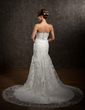 Trumpet/Mermaid Sweetheart Chapel Train Tulle Wedding Dress With Beading Appliques Lace Flower(s) (002011411)
