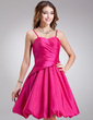 A-Line/Princess Sweetheart Knee-Length Taffeta Bridesmaid Dress With Ruffle Bow(s) (007001462)