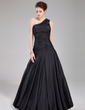 A-Line/Princess One-Shoulder Floor-Length Taffeta Prom Dress With Ruffle (018022534)
