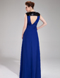 A-Line/Princess V-neck Floor-Length Chiffon Evening Dress With Ruffle (017019737)