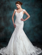 Trumpet/Mermaid Sweetheart Chapel Train Tulle Lace Wedding Dress (002000630)