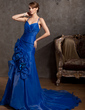A-Line/Princess V-neck Court Train Organza Prom Dress With Ruffle Beading Flower(s) (018014913)
