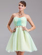 A-Line/Princess Sweetheart Short/Mini Organza Homecoming Dress With Ruffle Beading (022021037)