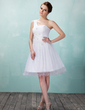A-Line/Princess One-Shoulder Knee-Length Tulle Homecoming Dress With Ruffle Lace Beading (022009633)