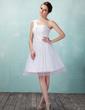 Çan/Prenses Tek-Omuzlu Diz Hizası Tulle Mezunlar Gecesi Elbisesi Ile Büzgü Lace Boncuklama (022009633)