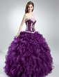 Ball-Gown Sweetheart Floor-Length Organza Quinceanera Dress With Appliques Lace Cascading Ruffles (021016039)