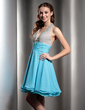 A-Line/Princess Halter Short/Mini Chiffon Homecoming Dress With Ruffle Beading (022020968)