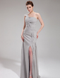 A-Line/Princess One-Shoulder Floor-Length Chiffon Evening Dress With Ruffle Split Front (017019744)