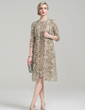 Sheath/Column Scoop Neck Knee-Length Taffeta Mother of the Bride Dress (008085280)