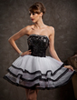 A-Line/Princess Strapless Short/Mini Organza Sequined Homecoming Dress With Beading Cascading Ruffles (022009101)