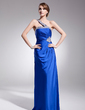 A-Line/Princess One-Shoulder Sweep Train Charmeuse Evening Dress With Ruffle Beading Sequins (017014559)