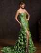 Trumpet/Mermaid Sweetheart Court Train Taffeta Prom Dress With Ruffle Beading Split Front (018015053)