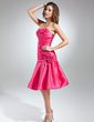 A-Line/Princess Sweetheart Knee-Length Taffeta Homecoming Dress With Ruffle Beading Flower(s) (022015536)