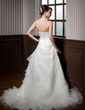 A-Line/Princess Strapless Chapel Train Organza Wedding Dress With Beading Cascading Ruffles (002001301)