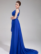 A-Line/Princess One-Shoulder Court Train Chiffon Evening Dress With Ruffle Beading Sequins (017019450)