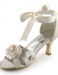 Women's Satin Stiletto Heel Sandals With Satin Flower (047005444)