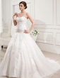 Ball-Gown Sweetheart Chapel Train Satin Organza Wedding Dress With Ruffle Lace Beading (002011677)