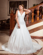 A-Line/Princess V-neck Chapel Train Taffeta Wedding Dress With Ruffle Beading Appliques Lace (002001704)