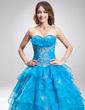 Balo Elbisesi Kalp Kesimli Uzun Etekli Organza Quinceanera (15 Yaş) Elbisesi Ile Nakışlı Büzgü Boncuk Pullar (021004710)