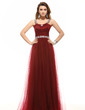 A-Line/Princess Scoop Neck Floor-Length Tulle Evening Dress With Ruffle Beading (017016052)