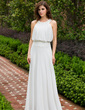 A-Line/Princess Scoop Neck Floor-Length Chiffon Evening Dress With Ruffle Lace Beading Sequins (017028329)