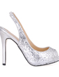 Women's Sparkling Glitter Stiletto Heel Peep Toe Sandals Slingbacks With Sequin (047015242)
