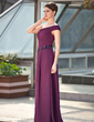 A-Line/Princess One-Shoulder Floor-Length Chiffon Mother of the Bride Dress With Ruffle Beading Sequins (008018766)